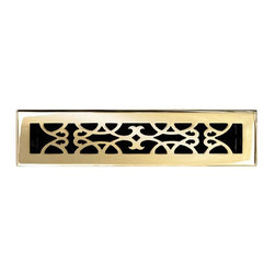 """Brass Elegans [120C PLB] Brass Decorative Floor Register Vent Cover - Victorian - This polished brass finish solid brass floor register heat vent cover with a victorian scroll design fits 2 1/4"""" x 14"""" x 2"""" duct openings and adds the perfect accent to your home decor."""
