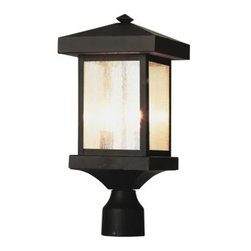 Trans Globe Lighting - Trans Globe Lighting Rustic Lodge Weathered Bronze Two-Light Outdoor Post Light - Craftsman outdoor lighting hangs delicately in place for porch lighting patios and outdoor living areas. Japanese inspired outdoor decor. Trans Globe Lighting is proud to be a leading manufacturer of residential lighting lamps and home decor since 1986. Born from the hopes and aspirations of two entrepreneurial spirits Trans Globe Lighting is a true testament to the American dream. Their company mission from the start was exceeding the industry standard in value style and selection. Today that mission remains stronger than ever.  In 2005 they expanded into a larger distribution facility in beautiful Valencia CA. This enables them to stock a steady on-hand inventory of over 3000 SKU's ranging from small outdoor porch lights to massive Bohemian crystal chandeliers. Features include Fits standard 3 inch post mounts Square mission style lantern Seeded glass Asian Outdoor collection Matching outdoor collection. Specifications Finish: Weathered Bronze Material: Cast Aluminum Bulb Type: Candelabra - E12 Number Of Bulbs: 2 Watt Per Bulb: 60 Wattage: 120 Bulbs Included: No Suitable For: For outdoor use Energy Saving: No.