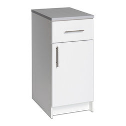 Prepac - Prepac 'Winslow Elite' White Worktop Standing Cabinet - This versatile standing cabinet adds just a little bit more workspace to your kitchen or workshop. Constructed of solid laminate,with brushed-metal handles,this cabinet also provides storage space. The melamine worktop stands up to tough jobs.