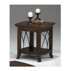 Bernards - End Table w Metal Accents & Shelf in Warm Che - 1 Shelf. Cathedral style. Made of wood and metal. 23 in. W x 21 in. D x 24 in. H