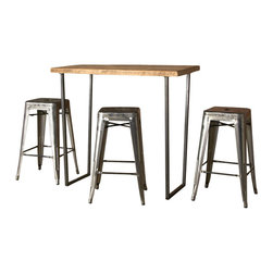 Urban Wood Goods - Brooklyn Bar Height Table - Thick, 84 x 36 - Your favorite local bar has quite a history. This bar is crafted of century-old reclaimed Douglas fir planks, each one telling the story of its unique past. Moreover, it will serve you and yours as breakfast bar, kitchen workspace, buffet table … or the ideal spot for a drink with friends for years to come.