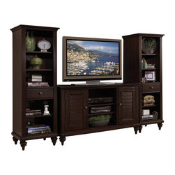 Home Styles - Home Styles Bermuda 3 Piece Entertainment Center - Home Styles - Entertainment Centers - 554234 - Inspired by the fusion of British traditional and old world tropical design the Bermuda Collection highlights poplar solids and sapelli veneers in a deep multi-step Espresso finish.  Further inspiration can be found in the shutter doors and turned feet.  Ample component storage is provided in the Bermuda Entertainment Credenza's center compartment with two adjustable shelves as well as in the two storage cabinets each with two adjustable shelves.  Additional storage/display space can be found in the Bermuda Pier Cabinet's three adjustable shelves and storage drawer.  Effectively hidden cable access points allow for neat wire management.  Three piece set includes the entertainment credenza and two pier cabinets.
