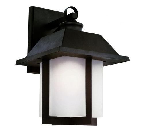 Joshua Marshal - One Light Black White Frosted Rectangle Glass Wall Lantern - One Light Black White Frosted Rectangle Glass Wall Lantern