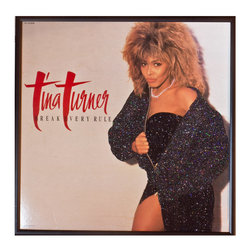 """Glittered Tina Turner Break Every Rule - Glittered record album. Album is framed in a black 12x12"""" square frame with front and back cover and clips holding the record in place on the back. Album covers are original vintage covers."""
