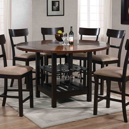 7 PC Walnut Wood Round Counter Dining Set Storage Chairs Fabric Seat - Furnish your dining room with a high top table and stool set that offers an inviting feel. This round, counter height table features sabered leg supports that extend down to reveal a storage shelf with vertical side supports. Surrounding the counter height table are stools that feature sleek, straight lined back designs for a crisp, clean look. Enjoy a casual dinner with a few of your best friends using the Cantrell counter height collection.