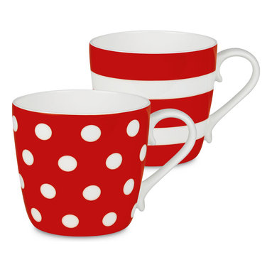 Konitz - Colors Set of 2 Mugs Strawberry Dots and Stripes - If you're two for tea — or coffee, of course — serve it up in these bone china beauties. The pair of mugs is delicately curved and simply patterned for the ultimate in everyday luxury.