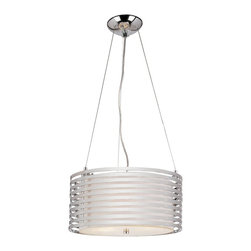 Trans Globe Lighting - Trans Globe Lighting Chrome Rails Modern/Contemporary Pendant Light - This Modern/Contemporary Pendant Light by Trans Globe was designed with a rail shade design made of Frosted Acrylic. The shade rails allow for you to see the inside which contains (4) 60W candelabra base. This is a perfect fixture for either a modern or contemporary interior.
