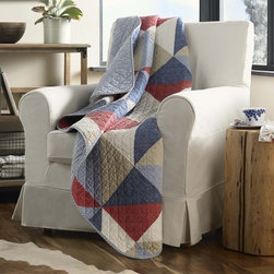 Eddie Bauer - Eddie Bauer Reversible Cotton Quilted Throw - The Eddie Bauer Eastmont reversible quilted throw is a great addition to any room in your home. Constructed of 100-percent cotton,this cozy throw features a patchwork pattern in a red,blue,ivory and khaki finish.