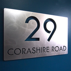 Address Plaques - CUSTOM Modern Deluxe Floating Address Sign in Aluminum