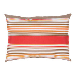 "Jaipur Rugs - Red/Taupe color polyester od deck chair stripe poly fill pillow 13""x18"" - These fashion forward pillows, in trellis, stripes and whimsical patterns are for both indoor and outdoor use."