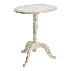 Strasbourg Solid Wood Oval Side Table - It may owe its simple elegance to classic European accoutrements. The Strasbourg Solid Wood Oval Side Table brings casual charm to your transitional decor. The scraped, distressed white finish blends seamlessly with an array of palettes, from the warmest neutral tones to the most rich and vibrant colorations. Perfectly proportioned for placement alongside your favorite chaise, in a welcoming foyer, or in a relaxing corner of your great room.