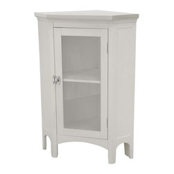 Elegant Home Fashions - Madison Avenue Corner Floor Cabinet - The Madison Avenue Corner Floor Cabinet from Elegant Home Fashions has an elegant crown molded top with one door that offers storage with style for your bathroom.  It is also very functional with one interior fixed shelf.  Arched decorative skirt on bottom front and sides offers architectural elegance.  It also features chrome finished knobs for easy opening .This cabinet comes with assembly hardware.
