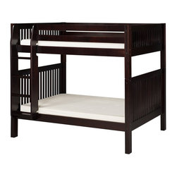 Camaflexi - Camaflexi Mission Headboard Twin over Twin Bunk Bed - C911NT - Shop for Bunk Beds from Hayneedle.com! The Camaflexi Mission Headboard Twin over Twin Bunk Bed is perfect when your family is growing and your space is not. Constructed of solid wood the upper bunk features front and rear safety guard rails. Both beds include slat roll foundations reinforced with an extra sturdy center rail support system that is comfy without the need of a box spring. The attached extra wide grooved step ladder and safety guard rails are interchangeable so you can position the ladder where you need it. The handsome mission style and child-safe multi-step protective finish comes in select color options to complement any decor. Optional trundle or storage drawers add to this bunk's utility. We take your family's safety seriously. That's why all of our bunk beds come with a bunkie board slat pack or metal grid support system. These provide complete mattress support and secure the mattress within the bunk bed frame. Please note: Bunk beds and loft beds are only to be used by children 6 years of age or older. About CamaflexiCamaflexi designs furniture that grows with your children. They offer safety durability and beautiful furniture designs that you and your children will love. Camaflexi is a proud member of the sustainable furnishings council. All Camaflexi beds are made of solid wood and built to stand the test of time. They are all tested and certified to meet all government and industry safety standards. Camaflexi ladders and steps are extra wide to be safer for your children. Camaflexi creates furniture for growing children.