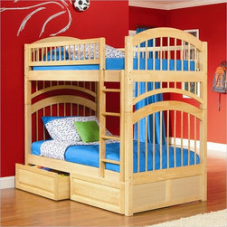 Modern Maple Finish Twin Over Twin Solid Wood Bunk Bed - Solid eco-friendly hardwood construction in four finishes.