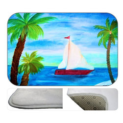 Red Sail Boat Plush Bath Mat, 20X15 - Bath mats from my original art and designs. Super soft plush fabric with a non skid backing. Eco friendly water base dyes that will not fade or alter the texture of the fabric. Washable 100 % polyester and mold resistant. Great for the bath room or anywhere in the home. At 1/2 inch thick our mats are softer and more plush than the typical comfort mats.Your toes will love you.