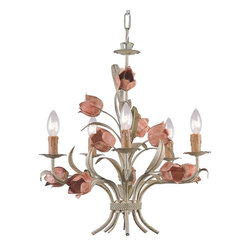 Crystorama - Crystorama Southport 1 Tier Chandelier in Sage/Rose - Shown in picture: Southport Handpainted Wrought Iron Chandelier; Southport collection is handpainted with soft Sage Green and Rose. These soft colors match well with the whimsical wrought iron floral.