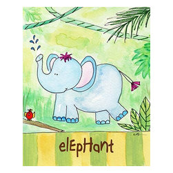 Oh How Cute Kids by Serena Bowman - Jungle Boogie - Elephant, Ready To Hang Canvas Kid's Wall Decor, 11 X 14 - Every kid is unique and special in their own way so why shouldn't their wall decor be so as well! With our extensive selection of canvas wall art for kids, from princesses to spaceships and cowboys to travel girls, we'll help you find that perfect piece for your special one.  Or fill the entire room with our imaginative art, every canvas is part of a coordinating series, an easy way to provide a complete and unified look for any room.