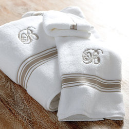 Ballard Designs - Amelie Bath Towel Collection - Mix and match the Amelie Bath Collection with our Signature Towels for a fresh, layered look. Each piece is made of plush and absorbent 750-gram cotton and finished with a yarn-dyed dobby border for a touch of color. Amelie Bath Collection features: Available in 3 border colors. Machine washable. *Monogramming available for an additional charge.*Only available for the bath and hand towels.*Allow 3 to 5 days for monogramming plus shipping time.*Please note that personalized items are non-returnable.