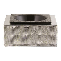 Frontgate - Classic Bling Dog Bowl - Handmade raised dog feeder. Leather top surface. Fine crystals adorn all four sides. Comes with a black ceramic bowl. Share your discriminating good taste with your pampered pet. Our Classic Bling Dog Bowl features a decadent yet sleek design, with a simple, modern square shape coated in fine crystals.  .  . .  .