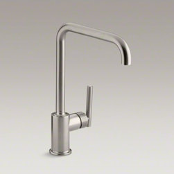 """KOHLER - KOHLER Purist(R) single-hole kitchen sink faucet with 8"""" spout - Designed to accommodate extra-thick counters, this Purist kitchen faucet combines a strong architectural form and simple-to-use features. The high-arch swing spout maneuvers easily around large cookware, while the side lever handle controls temperature an"""