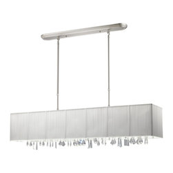Z-Lite - Z-Lite Casia Kitchen Island / Billiard X-W84-371 - Beautiful white ribbons surround this elegant rectangular fixture, which is suspended from telescoping finished in brush nickel hardware, to ensure the perfect height. In contrast, solid glittering crystals hang from the bottom of this fixture to add additional beauty to an already beautiful fixture.
