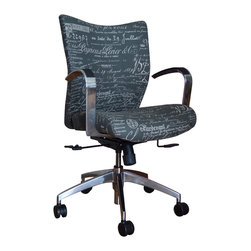 9 to 5 Seating - Office Chair Upholstered in Script Fabric - It's rare that you'll find an office chair that's not only comfy but stylish. This one fits the bill, with its plush, lemony upholstery, perfectly placed arms, polished aluminum frame — and swivel and tilt features.