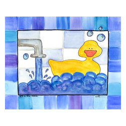 Oh How Cute Kids by Serena Bowman - Rubber Duckie is the Name, Ready To Hang Canvas Kid's Wall Decor, 8 X 10 - This is part of the my Rubber Ducky Series. I created this in hopes it would serve has reminders to my kids.  Make the bathroom a fun place and maybe just maybe the kiddies will actually go wash there hands and brush their teeth??  Here's to hoping!