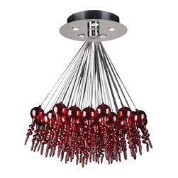 PLC Lighting - 5 Light Red Chandelier Dolce Collection - Ultra modern is the 5 Light Chandelier from the Dolce
