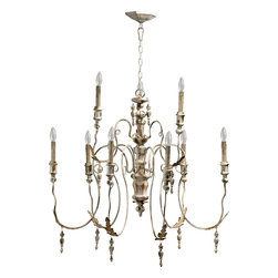 Quorum Lighting - Quorum Lighting Salento Traditional Chandelier X-07-9-6006 - Distressed finishes and a classic design give a stylish shabby chic feel to this Quorum Lighting chandelier. From the Salento Collection, it features two tiers of candelabra style lights that compliment the romantic influencing. Leafy details, baroque styling and a beautiful distressed Persian White finish complete the look.
