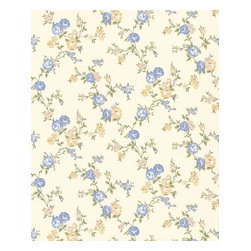 Graham and Brown - Rose Cottage Wallpaper - Buttermilk/Blue - Rose Cottage wallpaper - this small scale climbing rose wallpaper compliments the other floral papers in this collection.