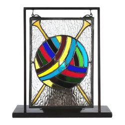 "Meyda Tiffany - Meyda Tiffany 6""W x 9""H Ball of Yarn with Needles Lighted Mini Tabletop Window - Meyda Tiffany 6""W X 9""H Ball of Yarn with Needles Lighted Mini Tabletop Window X-89886"