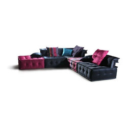 Vig Furniture Chloe Multicolored Fabric Sectional Sofa - You can have every color in one sofa! This sectional is very much in the style of Roche-Bobois, but it is not done by them. The price of this one will surprise you — because it is in the realm of your reality.