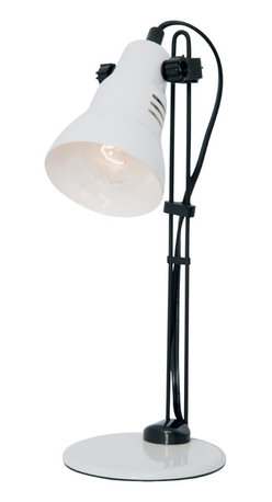 Lightaccents - Home Design, Assistant Task Lamp - Do your homework, finish those important reports and documents for work, pay bills and invoices, or tackle a craft project under the light from this powerful little desk lamp from Lightaccents.  The Home Design Assistant Desk Lamp White with Black Accents features metal construction with a white powder coated finish, black accents that give it a two-tone look, a painted metal head, an acrylic base, and a painted metal body.