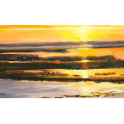 """Sunset, Waiting"" (Original) By Marin Dobson - The First Painting In The Sunset Sequence Of 3 Captures The Light As The Sun Begins Its Descent Toward The Horizon Near Berlin Maryland. I Feel These Paintings Convey A Sense Of Place And Could Be Located Along Any Waterway Along The Eastern Seaboard. Hope These Paintings Bring You Happy Memories!"