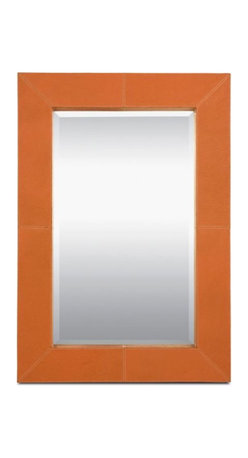 New in Box Orange Leather Made Goods Brooke Mirror - $1,245 Est. Retail - $950 o - Purchased by interior designer for client.