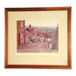 "Consigned Original Signed Photograph - Shaftsbury Dorset Alan Klug Mid Century - An original Mid-Century Modern Alan Klug vintage photograph depicting Shaftsbury in Dorset, England. The photograph is signed in pencil and is presented in a walnut wood frame. A hang wire is attached on the back. Framed size - length: 22.25"" height: 20.25"" Actual photograph within framing - width: 14"" height: 10.75"" I Think Walnut Wood Frame, Hang Wire Attached In Back"