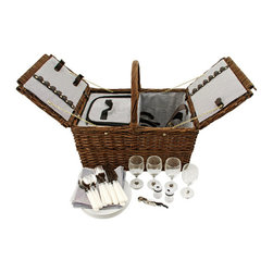 Wicker Picnic Set - Throw a '40s themed picnic at your local park. Complete the picture with this functional 27-piece throwback to old picnic baskets. Open up the Wicker Picnic Set and you get all the modern accouterments. Includes: 4 wine glasses, 4 plates, 4 forks, knives, and spoons, 4 cotton napkins, 1 white Truetap double-hinged corkscrew, and 1 set of salt and pepper shakers. With pockets and bands to hold all of your cutlery and goodies. Insulated to keep your tea time sandwiches cold. Also works perfectly well for current-century outings.