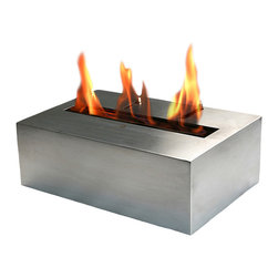 Bio-Blaze - Bio Blaze Bloc 11.73 in. Fireplace - Includes long lighter, funnel and extinguisher. One bloc burner. Burns with bio ethanol. Can be installed in ventilated living room, sitting room, dining room and veranda. Does not require flue and electricity. Does not release smoke. Burner: 5 L - Adjustable flame. Autonomy: 12 - 16 hours. Consumption: 0.35 L/H. Heating capacity: 2.8 KW. Stainless steel color. 11.73 in. L x 8.03 in. W x 4.05 in. H (9.92 lbs.). Security and Assembly InstructionsBio-Blaze offers you a collection of innovative fireplaces. These fireplaces functions on bio ethanol. They do not require any installation, nor they release any smoke or smell. The design of the Bio Blaze fireplace is specifically created for your interior and exterior decoration. They were imagined to make your interior more cordial. In an apartment, in a house or a loft, these fireplaces are easy to attach to the wall or to place in open spaces, both for interior and exterior use. Burns exclusively with Bio-Blaze high quality bio ethanol. Release mainly H2O and very little of CO2, do not release any smoke. Please read assembly and manual instructions before using your fireplace. Do not place next to curtains or inflammable products. Do not move the fireplace while burning. Fireplace mounted on a wall should remain fixed to the wall. Do not touch burner with bare hands during and after combustion, wait until the bloc is not hot. All products and burners are patented, tested and verified by SGS and TUV.