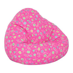 Elite Products - Kids Juvenile Print Large Bean Bag - A pink flower print gives this bean bag chair an air of spring.  No grown-ups allowed though!  It's made to fit children 4 to 10 years old.  Double seams give it added strength and child lock zipper pulls help prevent pinched fingers. * Long lasting and durable. Double stitched with double overlap folded seam. Double zippered bottom for added security. Childproof safety lock zippers (pulls have been removed). Constructed with durable poly-cotton print fabric. Light and convenient to move and store. Can easily be refilled by an adult. Spot clean only recommended. Recommended seating age: 4 to 10 years old. Warranty: One year limited. Made from polycotton blend fabric and polystyrene bead. Made in USA. 32 in. L x 30 in. W x 25 in. H (6 lbs.)