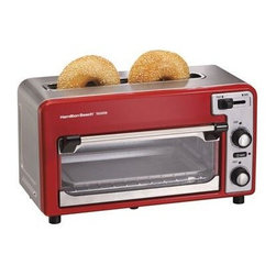 Hamilton Beach - Hamilton Beach Two Slice Toaster Red Silver - 2-Slice - Red/Silver - This toastation toaster and oven combo lets you quickly toast bake and heat your favorite foods. It is a fully functioning two-slice toaster with extra wide top toasting slot that accommodates bagels and wide breads toast shade selector cancel and auto-shutoff. As an oven it features a spacious interior that accommodates baked potatoes and tall and open-face sandwiches. It is perfect for appetizers pizza chicken nuggets French fries and more. You can even bake muffins and cookies. Removable crumb tray.