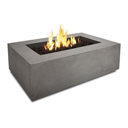 Realflame - Real Flame Baltic Rectangle Fire Table in Glacier Gray - Define your outdoor space with the clean design of a Real Flame Baltic rectangular fire table. Cast from a high performance, lightweight fiber-concrete that is tinted to the finish color for increased outdoor durability. This fire table comes complete with lava rock filler, and a matching lid for when the burner is not in use. The Baltic Collection carries a CSACertification and features an electronic ignition. Collection available in Glacier Gray or Kodiak Brown finishes. Concrete Material Color will be accurate but Actual finish will vary from photo.Features:Burns Liquid Propane, rated at up to 50,000 BTUs of heat