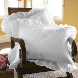 Dotted Voile Bed Sham - A restful sophistication reminiscent of a treasured Swiss dot garment is yours with our pure cotton, pure white Dotted Voile ensemble. It adds a lighter than air touch and textural interest with the reversible shams ending in beautifully sheer ruffles.