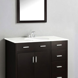 WyndenHall - Oxford Dark Espresso Brown 36-inch Bath Vanity with 2 Doors and White Quartz Mar - The 36-inch Oxford Bathroom Vanity is defined by its espresso brown finish,multi finish chrome pulls,hardware and clean lines and contemporary look. This beautiful assembled vanity provides a large storage area.