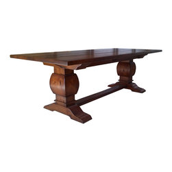 """Rustic Trestle Table Medium Pine Finish - Trestle table. Hand made from rustic alder, distressed, and finished in Antique Medium Pine.  Dimensions are 48"""" by 96"""" by 30"""" high. Designed and built by David Haak of Haak Designs."""
