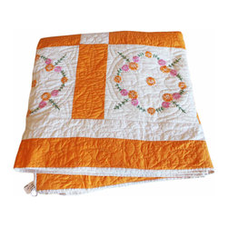 American Quilt - Antique appliquéd cotton orange and ivory patchwork quilt with pink and ivory rose garlands! Just perfect for your daughter's room.