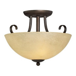 Design Classics Lighting - Rustic Two-Light Semi-Flushmount Ceiling Light - 1103-78 - Lodge / rustic / cabin bolivian bronze 2-light indoor ceiling light. Takes (2) 100-watt incandescent A19 bulb(s). Bulb(s) sold separately. UL listed. Dry location rated.