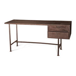 Kathy Kuo Home - Mastretta Industrial Loft Iron Recycled Tire Desk - Vintage and industrial styles complement one another to create an eclectic iron desk with a recycled tire tread top. Two drawers provide secure storage with a rust iron finish. Long, slender dimensions are perfect for smaller spaces.