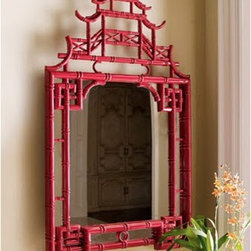 Horchow - Red Pagoda Mirror - A favorite of interior designers, this mirror looks amazing in an entryway, dining room, above a mantle, above a desk — anywhere you want Chinoiserie drama.