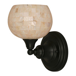 """Toltec - Toltec 40-MB-405 Wall Sconce Shown in Matte Black Finish with 6"""" Seashell Glass - Toltec 40-MB-405 Wall Sconce Shown in Matte Black Finish with 6"""" Seashell Glass"""
