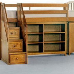 School House Storage Junior Loft with Stairs - Pecan - Designed for practical function without sacrificing style the School House Storage Junior Loft with Stairs - Pecan makes a versatile addition to your child's room. Offering endless possibilities to adapt to your child's sleep and storage needs this loft unit features a twin-size bed which is mattress-ready with complete slat system and requires no foundation. It meets or exceeds CPSC requirements for safety and comes with side rails and guardrails for your peace of mind. The ladder and stair unit with storage drawers offer fun ways of getting in and out of bed. The horizontal bookcase with four roomy adjustable shelves and the short vertical bookcase with two roomy adjustable shelves offer plenty of storage space for your child's favorite books and toys while the three-drawer chest with English dovetail joints keeps clutter at bay. Made of sturdy hardwoods and veneers this loft comes in non-toxic lead-free pecan finish that will work well in most settings. Dimensions: Loft bed: 81L x 42W x 51.75H inches Horizontal bookcase: 46.25W x 14D x 31.5H inches Short vertical bookcase: 36.75W x 14D x 31.5H inches 3-drawer chest: 36.75W x 17.25D x 31.5H inches CPSC recommends the tops of the guardrails must be no less than 5 inches above the top of the mattress and that top bunks not be used for children under 6 years of age. About New Energy KidsNE Kids is a company with a mission: to create and import truly unique furniture for your child. For over thirty years they've been accomplishing this mission with flying colors one room at a time. Not only will these products look fabulous they will provide perfect safety for your children by adhering to the highest standards set by the American Society for Testing and Material and the Consumer Products Safety Commission. Your kids are in the best of hands and everyone will appreciate these high-quality one-of-a-kind pieces for years to come.